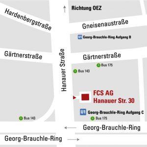 Lageplan der FCS AG in München Moosach